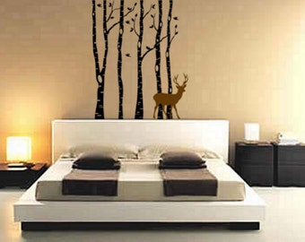 Tree decal, birch tree sticker, deer wall decal, birds decal, nursery tree wall decal, forest, nature, girls room, 31 X 39 inches, 2026-N