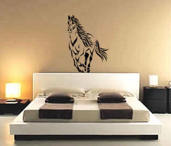 Autocollant cheval mustang sticker stallion d calque de mur for Stickers pour chambre d ado