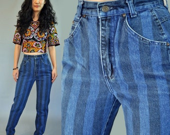 Vintage 80s Jeans High Waisted Mom Jeans / Striped Denim ZENA Jeans 1980s Taper Leg Womens High Waist Jeans Vintage Blue Jeans 24 Waist
