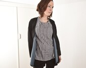 The Checkered Short Sleeve Blouse, black, white, small checks, chess, rocker, cool, size large