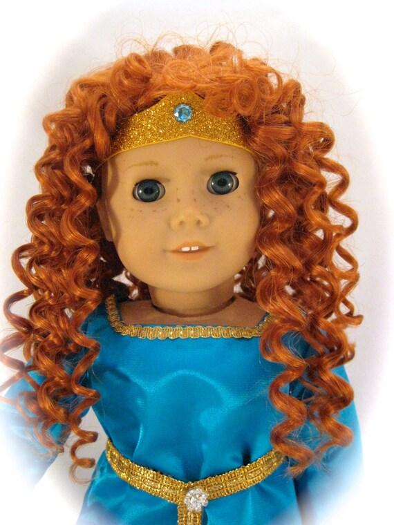 Merida Inspired Doll is a Rewigged American Girl Doll with Handmade Merida Style Dress
