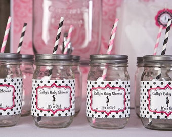 Water Bottle Labels - Baby Shower Decorations - Mom to Be Theme in Hot Pink & Black Polka Dot - Baby Girl Baby Shower (12)