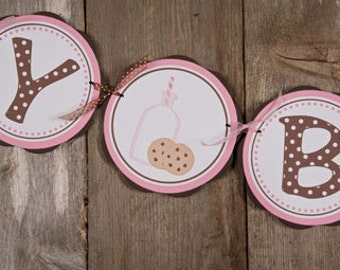 Milk and Cookies HAPPY BIRTHDAY Banner Party Decorations, Milk & Cookies Birthday Banner, Girl Birthday Party Decorations in Pink and Brown
