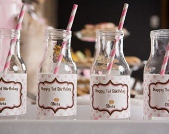 Milk & Cookies Themed Water Bottle Labels - Milk and Cookies Party Decorations - Milk Bottle - in Pink and Brown (12)