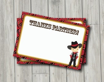 Cowboy Thank You Note - Cowboy Thank You Card - Digital Printable Thank You - Western Theme Party