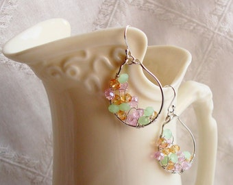 Small Wire Wrapped Handmade Hoops with Sparkly Pink, Brown, and Green Crystal Rondelles Sterling Silver Earrings