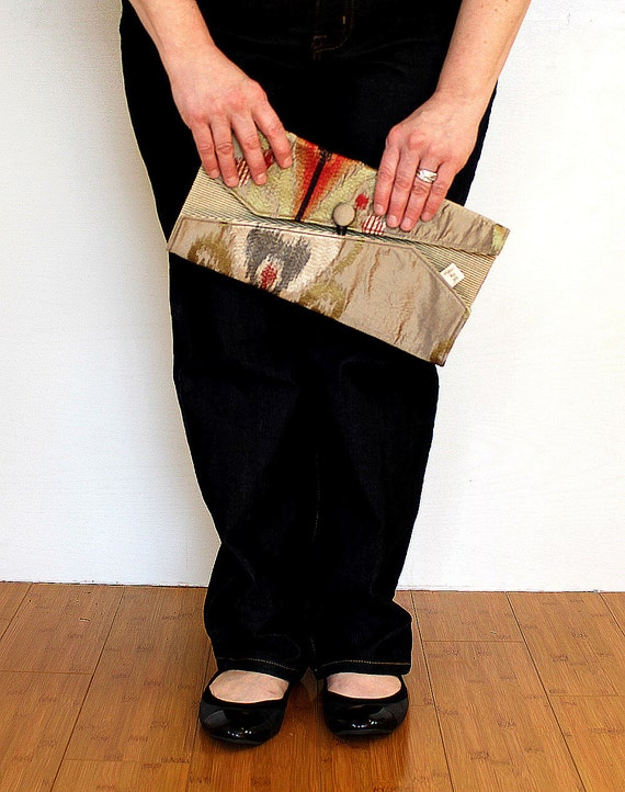 Silk Envelope Clutch,  Upcycled Embroidered Heart, Double Fold
