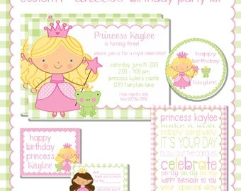 Princess Birthday Party  Printable Kit, Custom  princess and the frog, custom invitations, party decorations