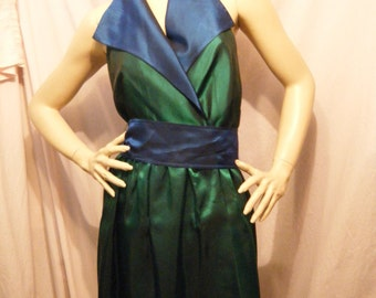 It's a Dead Man's Party vintage 1980s 90s Metallic Beetle Green and Blue Backless Wrap Dress Medium