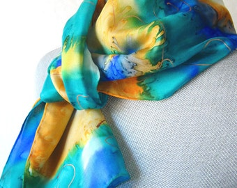 Handpainted Silk Scarf in Yellow Spring Floral