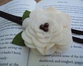 Felt Flower Headband with Soft Elastic Band Cream and Brown
