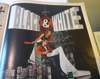 Vintage Ad - Scotch - Black and White original ad from 1960s - Original ad