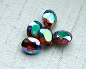 10 Rare Vintage 1950s Aurora Borealis Faceted Oval Rhinestones  8x10 mm // Silver Foil Back // Peacock Feather Colours