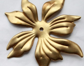 2 Large Vintage Brass Tropical Lily Stampings // Rockabilly Pinup Flower