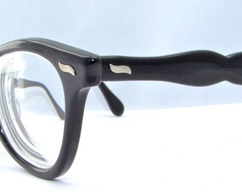 Womens 50s Eyeglasses Black  Wayfarer style  Super nice Imperial brand