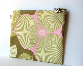 Zippered Cosmetic Pouch in green and pink Amy Butler Lotus Fabric size small maakeup pouch, bridesmaids gift