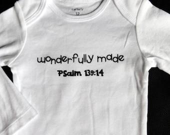 WONDERFULLY MADE Psalm 139 White bodysuit, wonderfully made, baby shower gift, Psalm 139 bodysuit