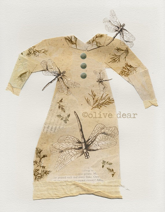 collage, mixed media, art print, dragonfly dress