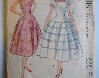 Vintage 50's Evening Dress sewing pattern.   McCall's.  Misses Size 14.   No. 3178.