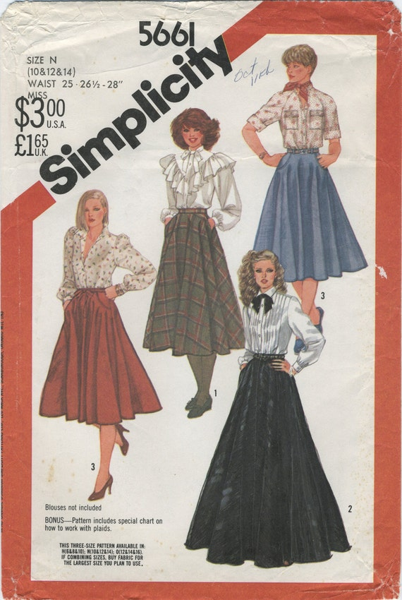 Full And Half Circle Skirt Sewing Pattern Simplicity 5661 Size