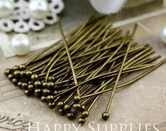 100pcs 30mm Long Antique Bronze Plated Brass Ball End Headpins (20076)