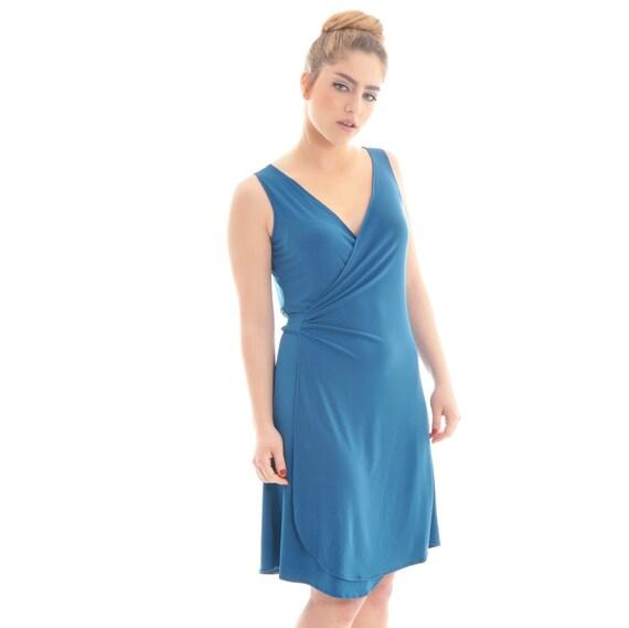 Crazy SALE, Hurry up- only few left! Summer dress, Short summer dress, Women short dress, Wrap dress, Women wrap dress, Blue summer dress