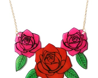 Triple Rose Necklace - Valentine's - Pink and Red Roses - Love - Tattoo Inspired Neckpiece / Chestpiece - Large Statement Jewellery