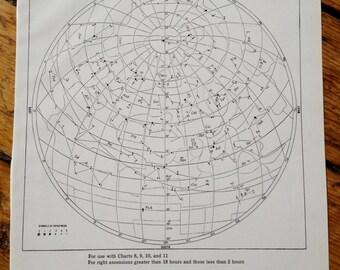 1943 CONSTELLATIONS chart star map original vintage celestial astronomy print chart C