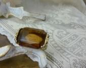 smokey amber glass ring size 7 1/2