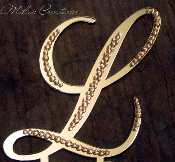 Partial Crystal Gold Mirror Monogram Cake Toppers with Gold Swarovski Crystal Rhinestones