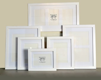 SET of SIX Gallery Style 1x1 Flat Frames in Frame and Mat Color of Your Choice - Gallery Set of Frames - Frame Package - Gallery Wall Frames