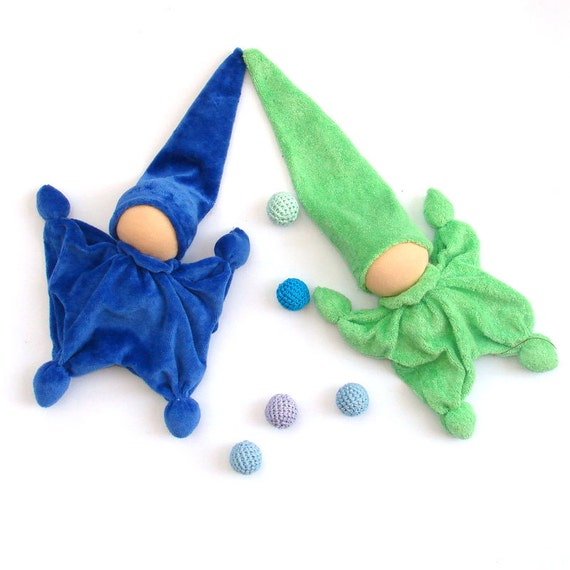 Green Teething waldorf doll gnome from cotton french terry,