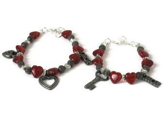 Mom Mother Daughter Sister Grandmother Grandma Charm Bracelet Set, Locket & Key, Gifts for Her Under 50, Memorable Gifts, Stocking Stuffers