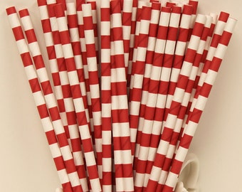 Paper Straws, 25 Red Sailor Striped Paper Drinking Straws, Red Party Straws, Fourth of July, Flag, Birthday Party Straws, Christmas Holiday