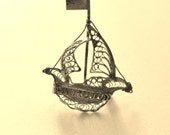 1960s,  925 Silver sterling Filigree Brooch - superb sailing ship signed Marta Marzotto - fine vintage Italian  - Art.524/2-