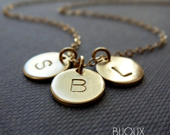 Initial Disc Gold Necklace - THREE Disc Necklace - 14K Goldfilled/ Choose your Initials