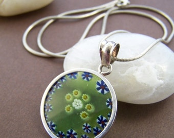 Flower Child Glass Pendant - Vintage Artisan Millefiori Glass and Sterling Silver Necklace