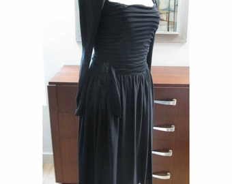 Vintage Lilli Diamond Designer 50s 60s Cocktail Dress Ruched Draped Bodice 36 - 32- full