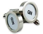 Gin Cufflinks - Cash Register Key Cufflinks - White GIN Key - by Gwen DELICIOUS Jewelry Design