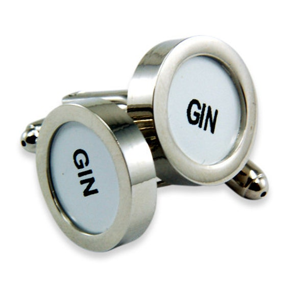 Gin Cufflinks - Cash Register Key Cufflinks - White GIN Key - by Gwen DELICIOUS Jewelry Design