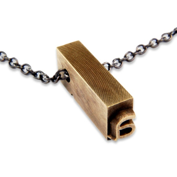 Letter A  Letterpress Necklace - Brass Initial Personalized - Other Letters Available