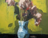 Loose Threads . 8 x8 giclee art print of still life flower painting