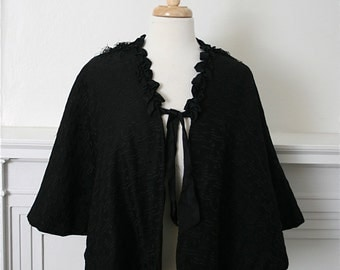 Antique Victorian Black Mourning Capelet