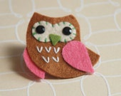 Brown and Pink Owl Felt Pin