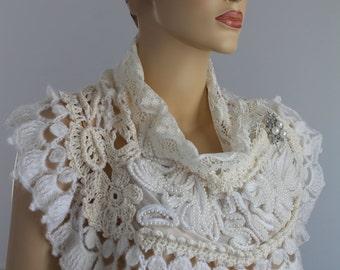 SALE Ivory White Wedding Crochet Beaded Shawl Capelet - Wedding Shrug - Wearable Art - OOAK