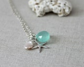 Starfish Necklace, Charm Necklace, Beach Jewelry, Apple Green Chalcedony on Sterling Silver Chain, Gift Under 50