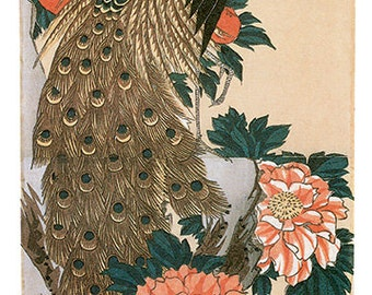 Hand-cut wooden jigsaw puzzle. PEACOCK & ORANGE PEONIES. Hiroshige. Japanese woodblock print. Wood, collectible. Bella Puzzles.