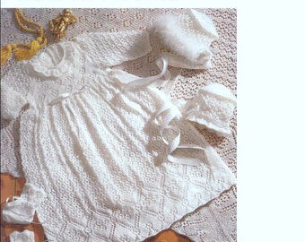 Sale **** KNITTING PATTERN - Baby -Heirloom Style Baby's Christening robe, shawl, bonnet and booties