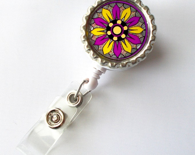Funky Flower Magenta and Yellow - Nurse Badge Reel -  Nursing Badge Holder - Flower Badge Reel - Nurse ID Badge Clip