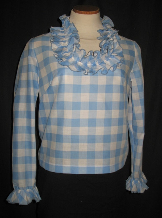 Vintage 1960s Pale Blue Cotton Gingham Blouse Ruffle Neck and Sleeve Trim  Never Worn Size Small NOS